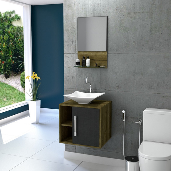 Gabinete P/banheiro Quadratta + Cuba Folha L38+espelheira