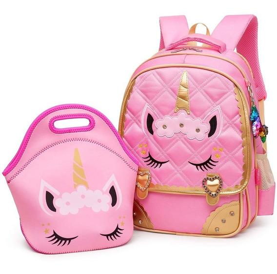 Mochilas Bolso Escolar Niñas Diseño Unicornio