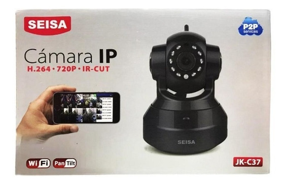 Camara Ip Seisa Jk-c37 Negra 360 10 Metros Wifi Monitoreo
