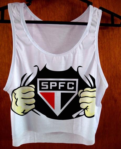 Blusa Cropped São Paulo Fc Feminina Regata Camiseta De Time