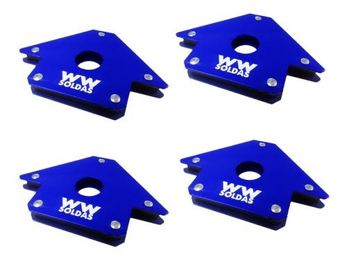 Esquadro Magnético Para Solda 22kg Kit Com 4 Uni Wwsoldas