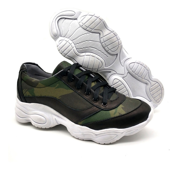 Tenis Casual Feminino Bota Dad Sneakers Couro Legítimo