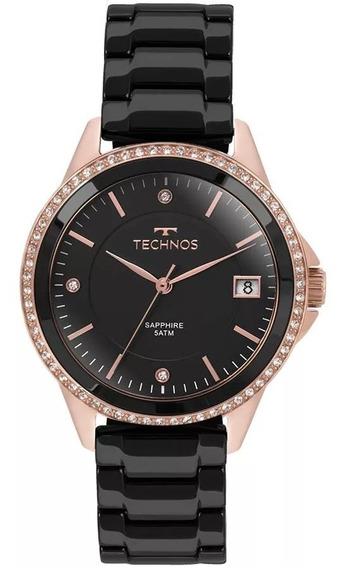 Relógio Technos Feminino 2315kzr/4p Ceramica Preto Rose Gold