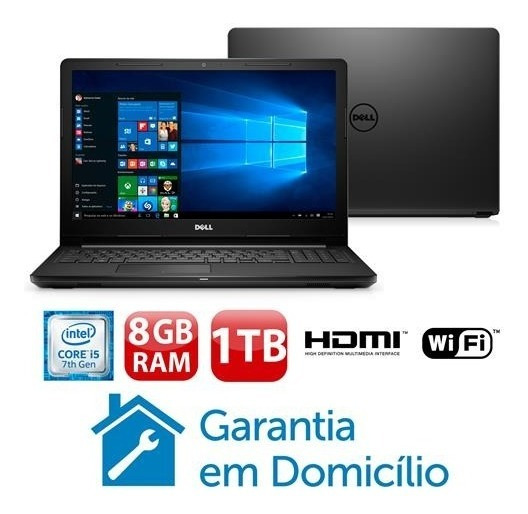 Notebook Dell I15-3567 A40p Intel Core I5 7200u 8gb 1tb 15.6 Windows 10 Novo Nota Fiscal Garantia