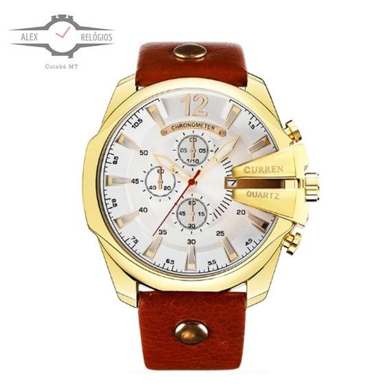 Relógio Curren Unico Original Na Caixa Pulseira De Couro Top