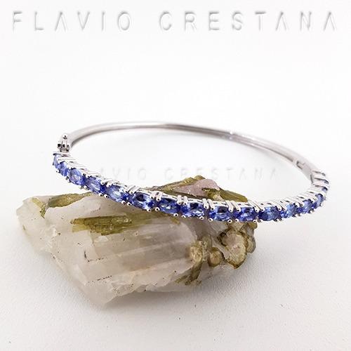 Pulseira Bracelete Tanzanita Natural, Prata 925 E Banho De R