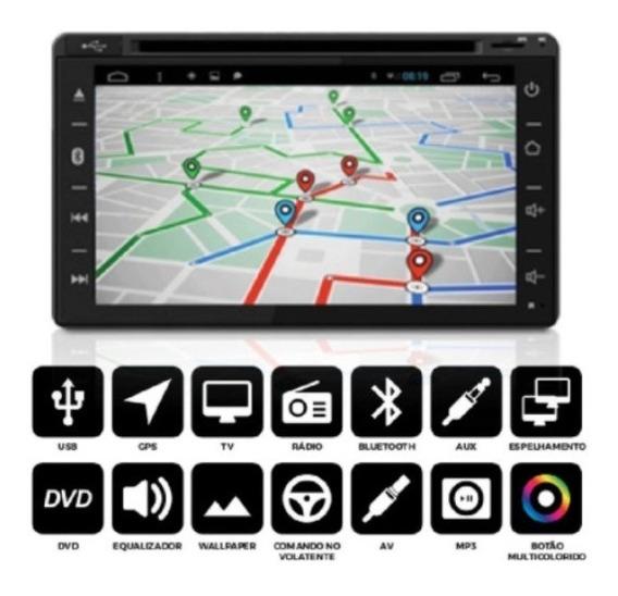Central Multimídia 7 2 Din Espelha Android Com Dvd Gps Tv
