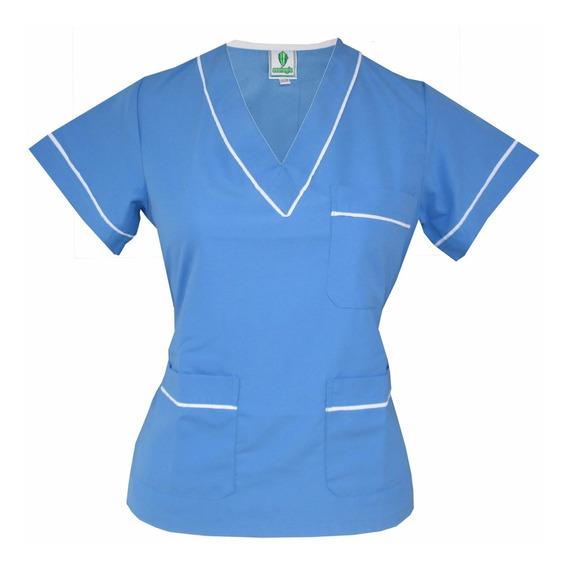 Top E.r T16 Azul Celeste, Blanco Uniforme Médico