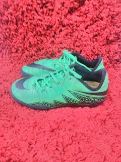 245- Chuteira Nike, Hypervenom, Verde Com Preto, Travas Baix