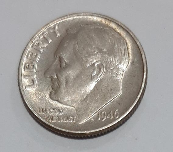 Usa Moneda 1 Dime Plata 1946 Xf+ Km # 195 Roosevelt