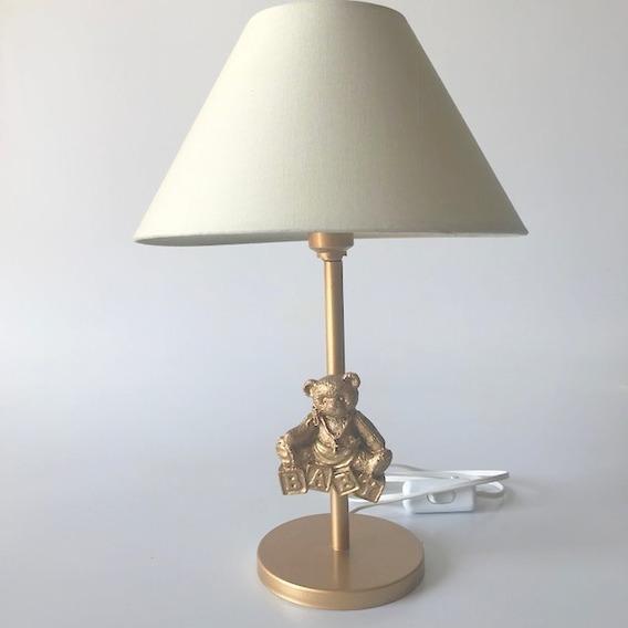 Abajur Ursinho Urso Dourado/branco Quarto Bebê Infantil