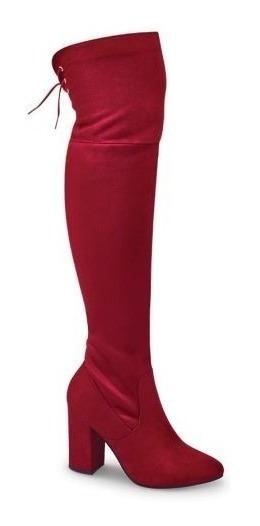 Bota De Vestir Yaeli Fashion Extra Larga Rojo Bt8b868e