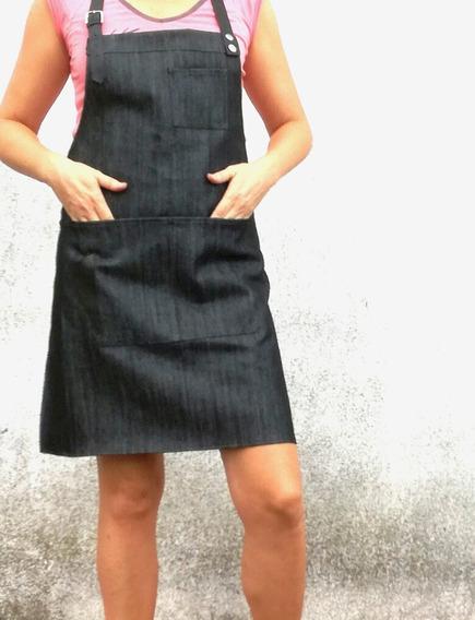 Delantal Diseño Mujer Jean Lúrex Cuero Estilista Cortadora