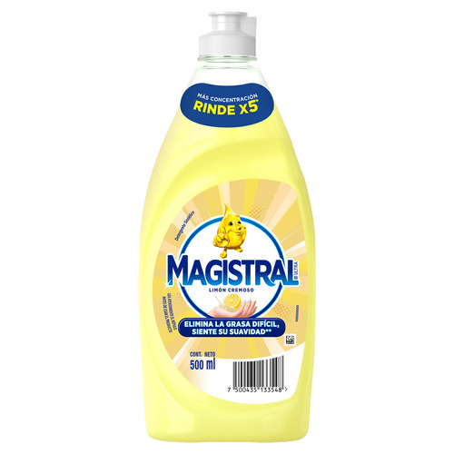 Detergente Magistral Ultra Limón Cremoso sintético en botella 500ml