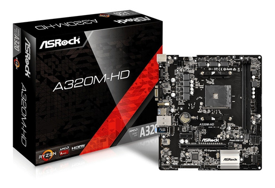 Placa-mãe Asrock Amd Am4 Matx A320m-hd Ddr4 P/ Ryzen