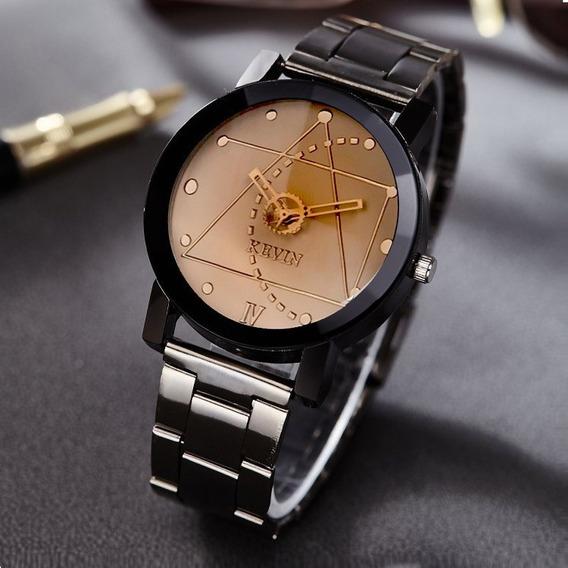 Reloj Metal Acero Negro Kevin Ingeniero Hombre Mujer B158