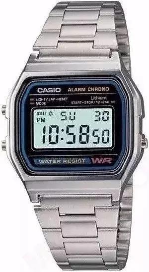 Relógio Cassio Retro Prata Fundo Preto Aço Digital Unissex