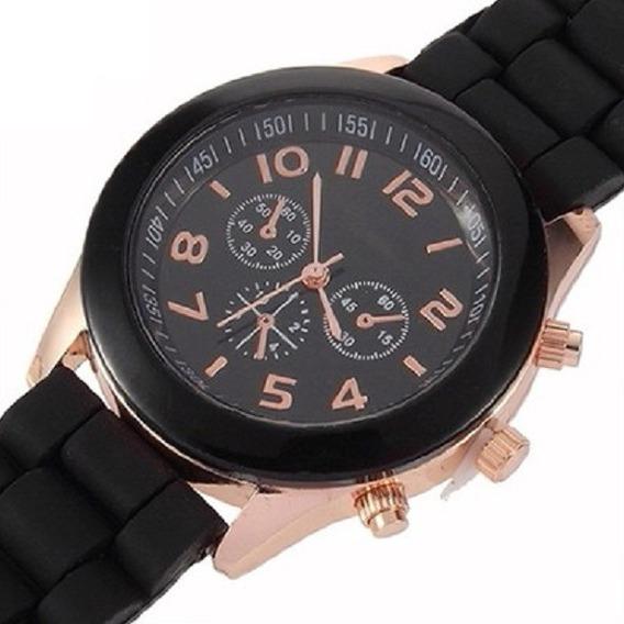 Reloj Mca. Geneva Unisex Color Negro De Correa De Silicon