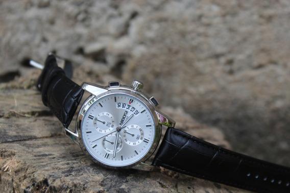 Relógio Masculino Nibosi Luxo Pulseira De Couro + Brinde