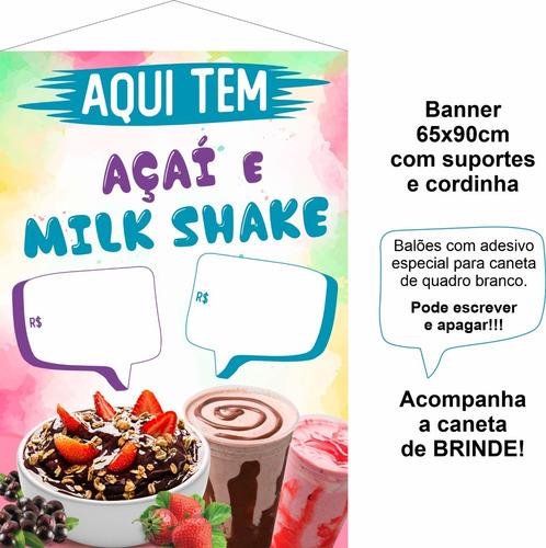 Banner Sorveteria Açaí E Milk Shake + Brinde