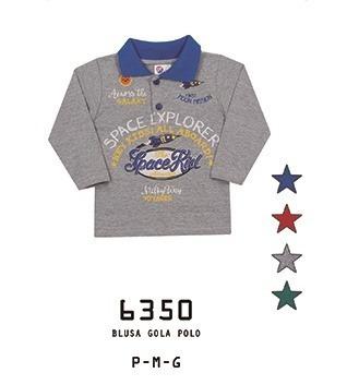 Camiseta Alemara Bebê Polo Manga Longa Space Kid Cód: 929
