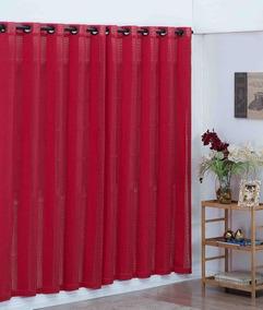 Cortina Sala Algodão Vermelha 1,8mx2,8cm - Artesanal Teares