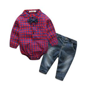 Conjunto Roupa Bebê Menino Camisa Xadrez E Calça Jeans