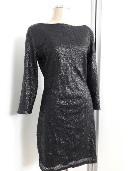 Vestido Em Paetês Fosco Preto