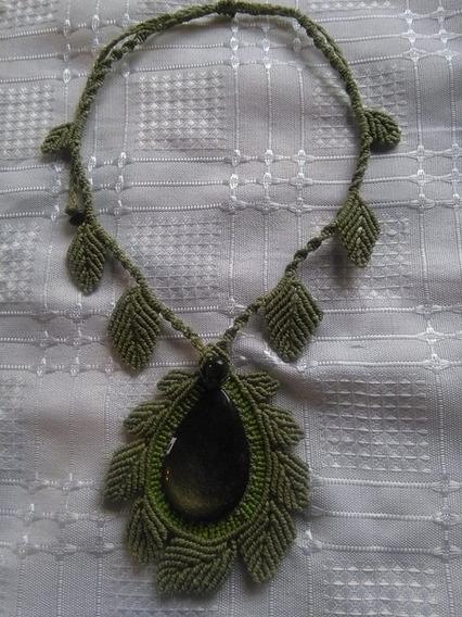 Collar Macrame Con Piedra Obsidiana Plateada