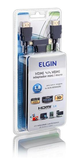 Cabo Hdmi Elgin Com Adaptador Para Micro E Mini Hdmi