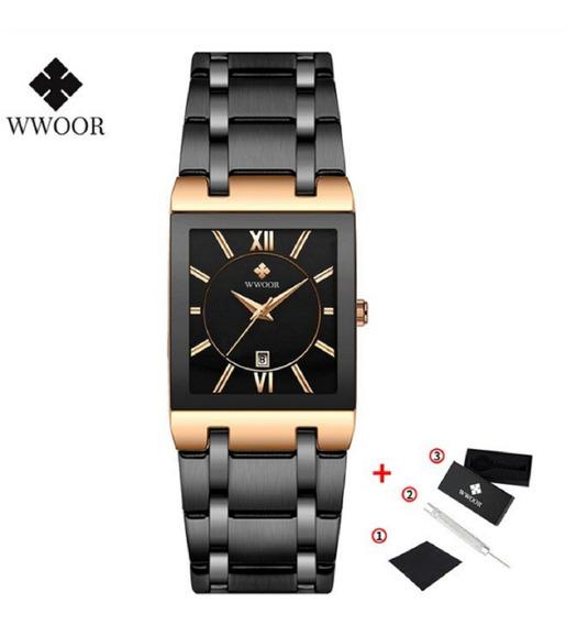 Wwoor Relógio De Pulso Masculino Dourado Lindo Preto Rose
