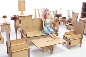 Muebles Para Barbie Casa De Muñecas En Madera Set Economico