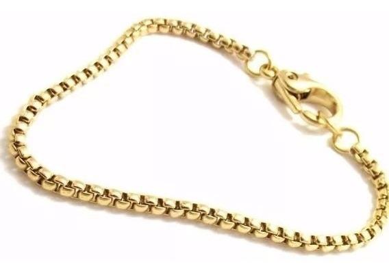 Pulseira Veneziana Masculina Banhada Dourada 21 Cm Bracelete