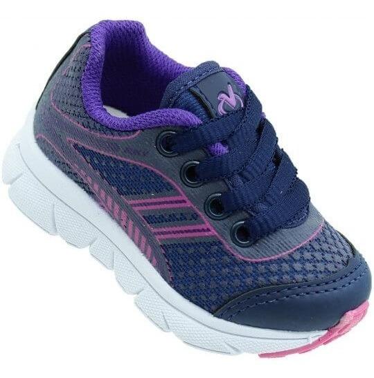 Tênis Infantil Via Vip Jogging Feminino Azul Marinho/roxo + Frete Grátis
