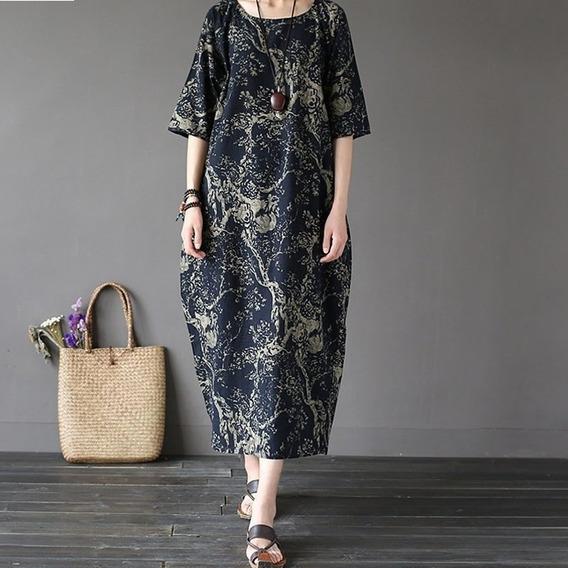 Tokio Vestido Largo Moda Japonesa Retro Boho Asiatic Ysd-354