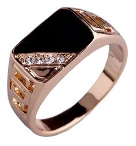 Anillo Caballero Baño Oro Triangulo Cristales, Esmalte Negro