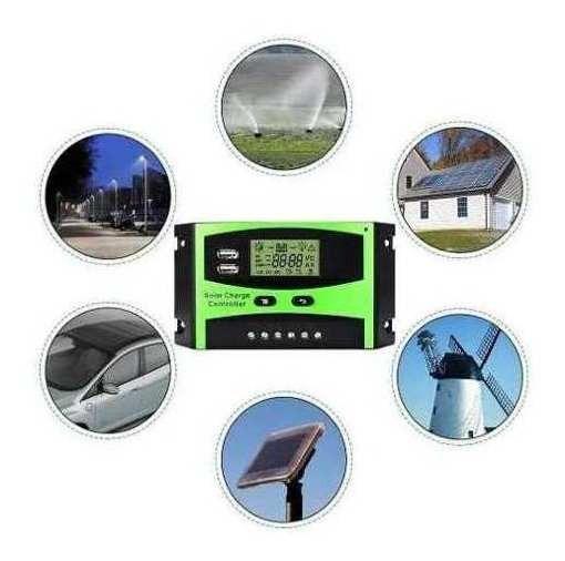 Controlador De Carga Painel Solar 30 A 12e24v Pwm C/ Lcd Usb
