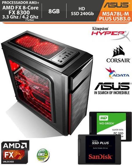 Pc Asus M5a78l-m Plus Fx-8300 3.3ghz Usb3.0 8gb Ssd 240gb