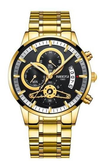 Relógio Nibosi Masculino Dourado Com Frete Grátis Promoção