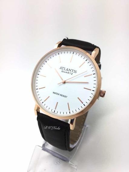 Relógio Atlantis Social Branco Pulseira De Couro G3493