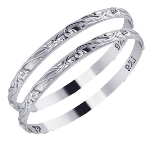 Imagem 1 de 4 de 2 Anéis Fio Arabesco Pura Prata 925 Aliancinha- Melhor Valor