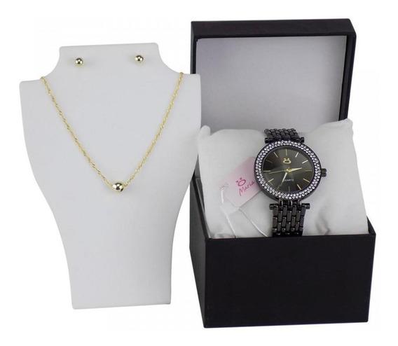 Relógio Feminino Original Strass Luxo Caixa Colar Brinco