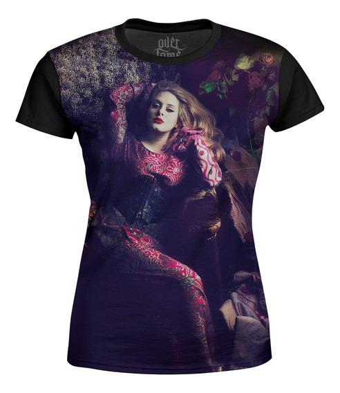Camiseta Baby Look Feminina Adele Estampa Digital Md02