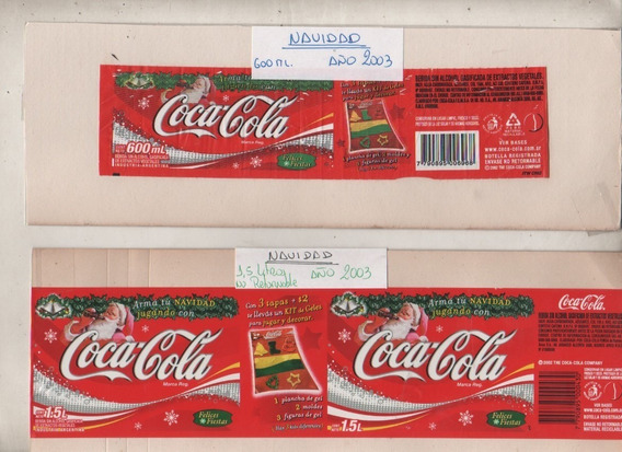 2 Antiguas Etiquetas De ** Coca Cola ** Promo Navidad 2003