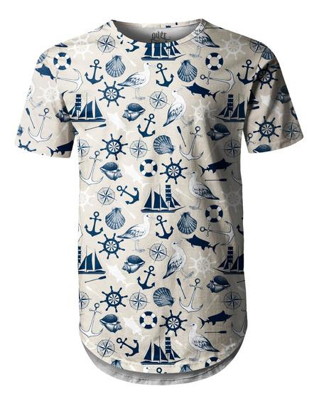 Camiseta Masculina Longline Swag Tema Marinho