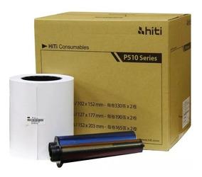 Papel Hiti P510 10x15 - Cx C/ 2 Rolos + 2 Ribons / Hiti 510