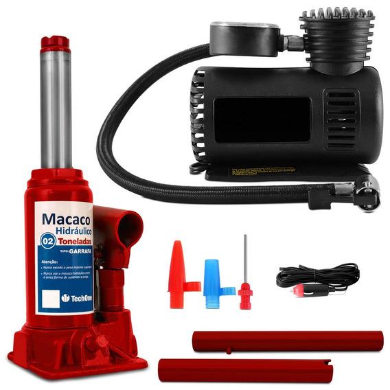 Kit Mini Macaco 2 Toneladas Garrafa + Mini Compressor De Ar