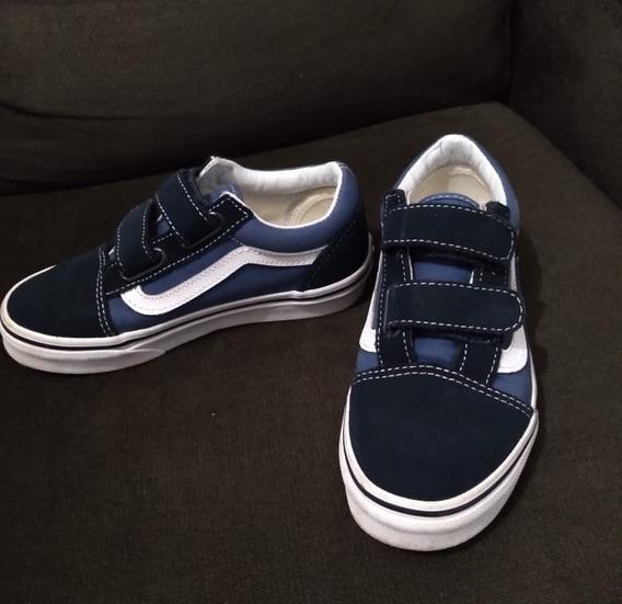 Tênis Vans Old Skool Infantil De Velcro Navy/true White