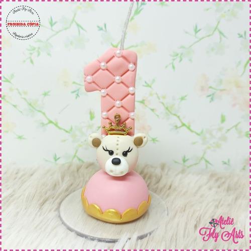 Imagem 1 de 2 de Velas Decoradas Biscuit Ursinha Princesa Realeza