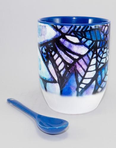Tazón Con Cuchara Flores Azules